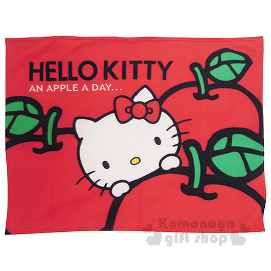 〔小禮堂〕Hello Kitty 刷毛毯《紅.大臉.蘋果.75x100cm》室內車內兼用