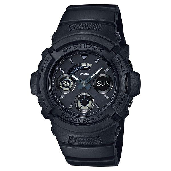 CASIO G-SHOCK AW-591BB-1A消光黑雙顯時尚腕錶/黑面46mm
