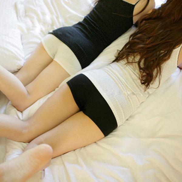 安全褲 純棉 素面 彈性短褲內搭褲 黑白Anna S.