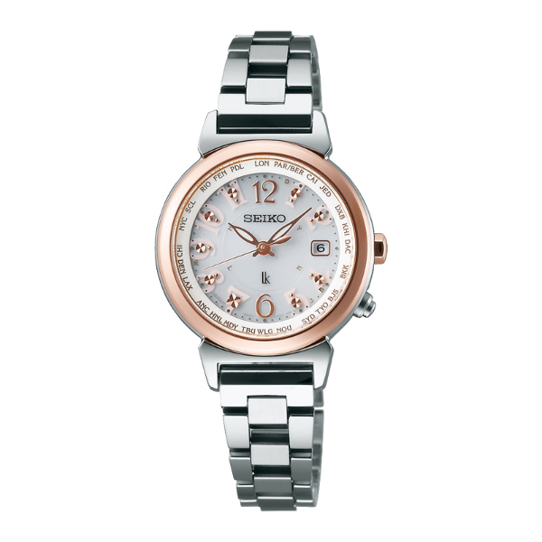Seiko Lukia 1B25-0AA0KS(SSVV002J)青春粉漾雙色玫瑰金太陽能電波腕錶/白面28mm