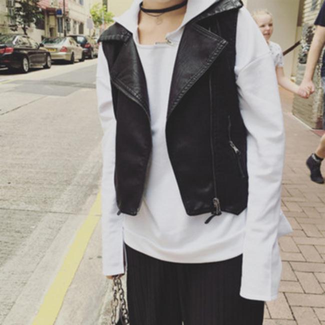 50%OFF【G018857C】實拍~2016秋季韓國新品時尚休閒皮馬甲-長袖T洋裝羽絨外套針織衫毛衣一字領大學t