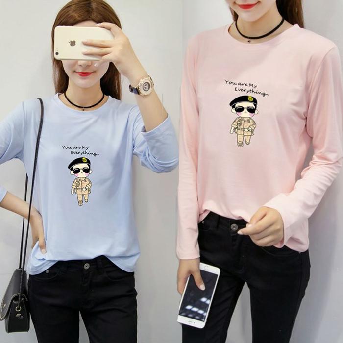 糖衣子流行館【CZ5120】韓版時尚休閒太陽的後裔印花圓領T恤上衣(預購款10天)