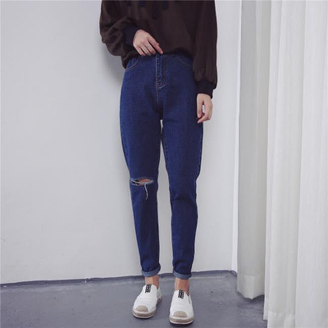 50%OFF【G019091P】割破高腰顯瘦牛仔褲女寬鬆百搭哈倫長褲子