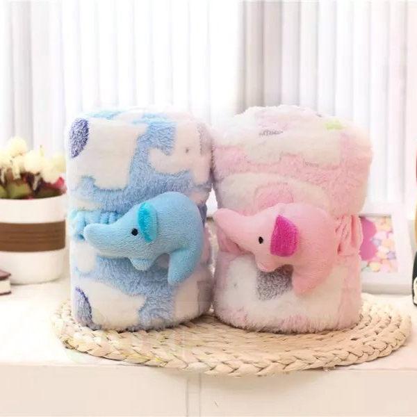 可愛卡通小象珊瑚絨薄款空調毯子/可捲曲收納毯/懶人毯/午睡毯(二色)【庫奇小舖】