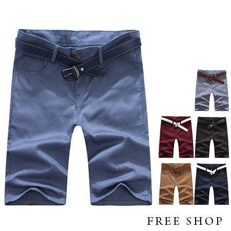Free Shop【QSPN3720】日韓風格素面多色系後側口袋拼接皮標休閒短褲工作短褲‧六色