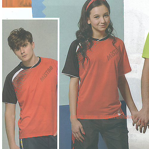 MILD STAR 男女吸濕排汗短T恤-橘黑#AS700402