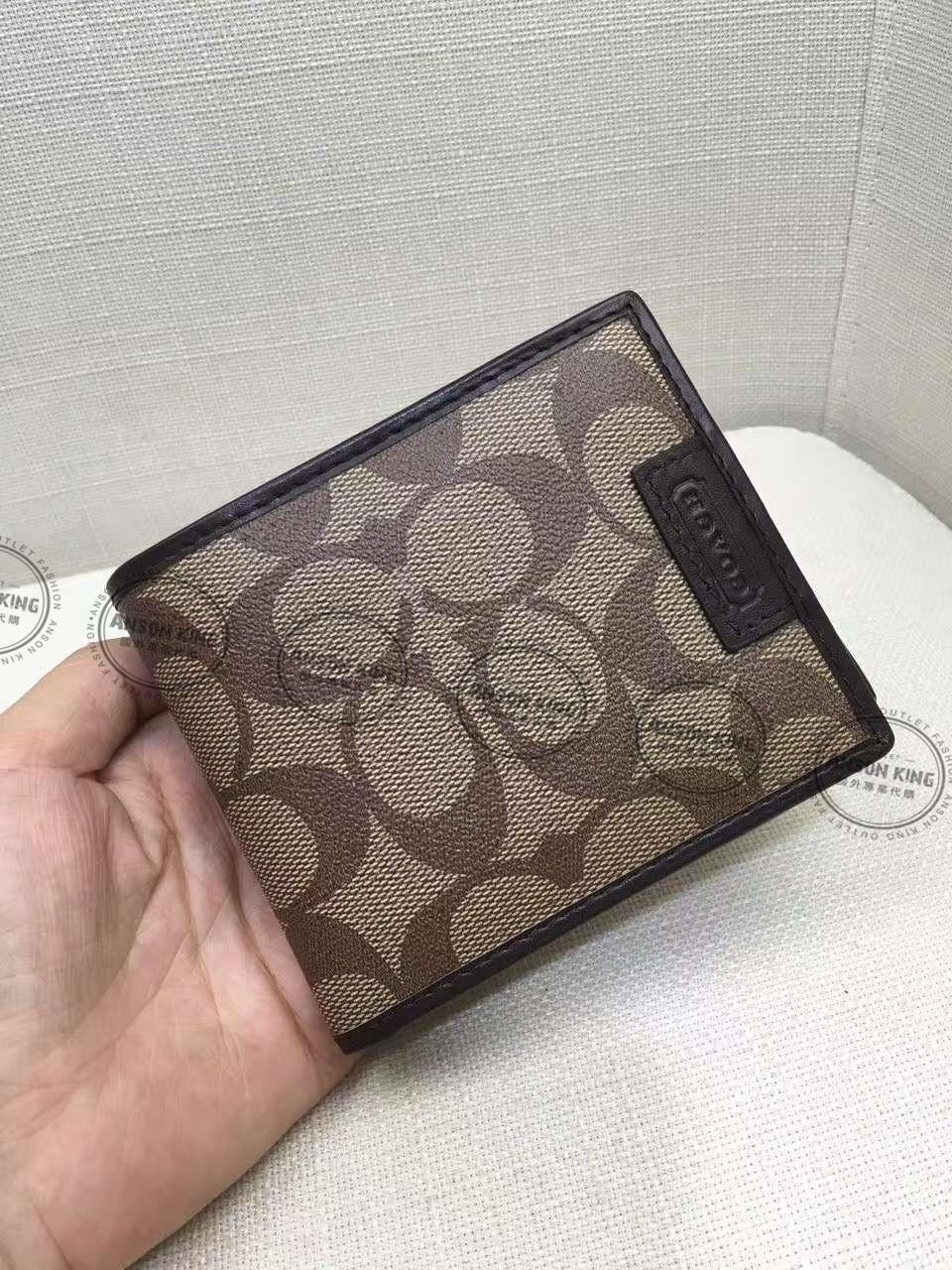 美國Outlet代購 Coach 全新正品 F74586 歐普印花二折短夾 卡其色 皮包 零錢包 多色可選