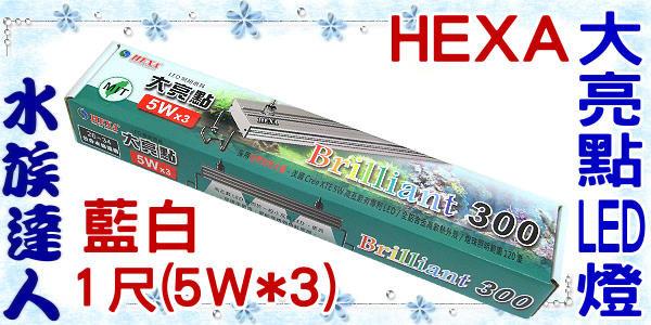 【水族達人】海薩 HEXA《300 大亮點 LED燈 (5W*3) 1尺/藍白》跨燈 26~34cm魚缸適用