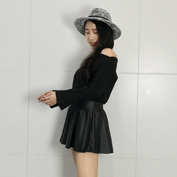 一字領 喇叭袖 寬袖 T 長袖 上衣 棉 彈性 寬鬆 素面 百搭 顯瘦 正韓 黑灰白