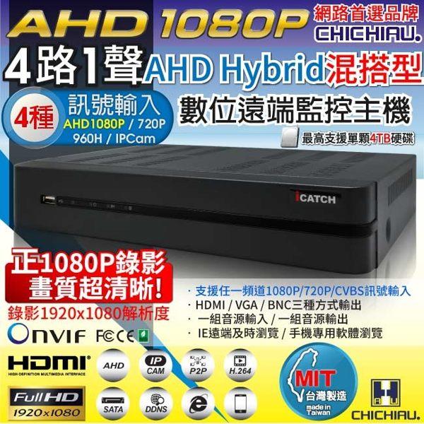 弘瀚--【CHICHIAU】4路AHD 正1080P台製iCATCH數位高清遠端監控錄影主機-DVR
