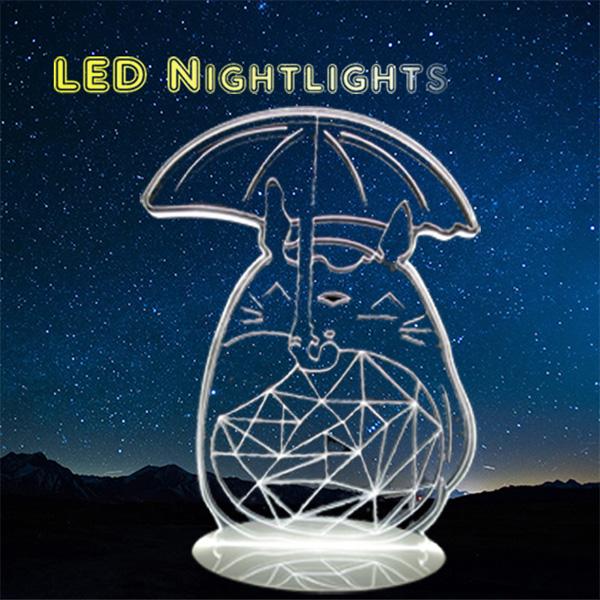北歐 Totoro 豆豆龍 龍貓 小夜燈 卡通 LED燈 3D立體燈 生日禮物 交換禮物 情人節禮物