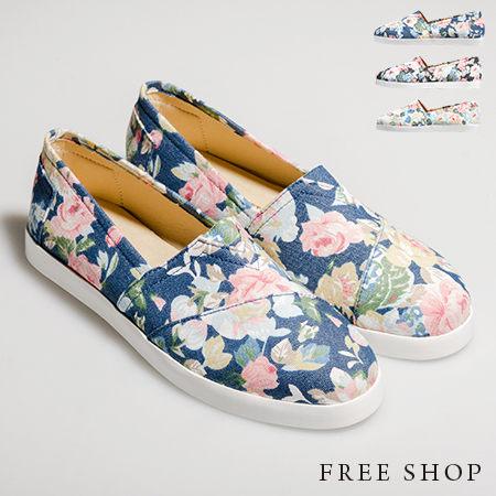 Free Shop【QSH0403】日韓風格春色花樣花布限定款抓摺休閒鞋懶人鞋‧三色(FF15) MIT台灣製