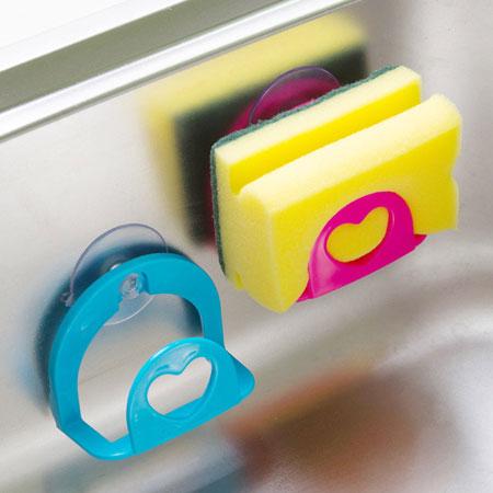 居家創意 愛心造型吸盤式海綿置物架 香皂盒 水槽瀝水 廚房浴室【N200867】