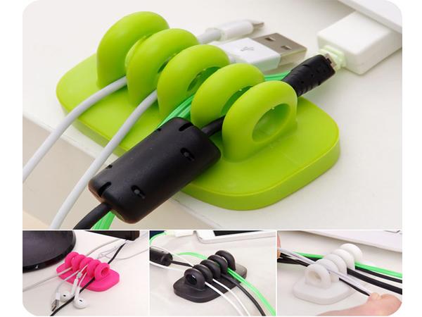 BO雜貨【SV6150】電腦電線桌面理線器 電線收集固線夾 USB傳輸線 滑鼠鍵盤電腦 收納器 固線器 4孔線夾