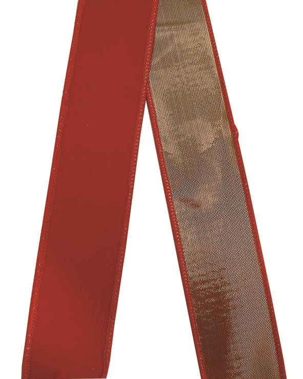 X射線【X100231】紅絨布緞帶1吋,聖誕佈置/婚禮小物/包裝材料/裝飾/蝴蝶結/DIY/佈置/禮盒裝飾