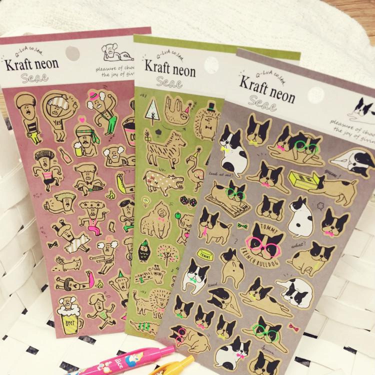 PGS7 日本卡通系列貼紙 - 牛皮 螢光 貼紙 動物貼 Q版貼紙 裝飾貼紙 手帳本