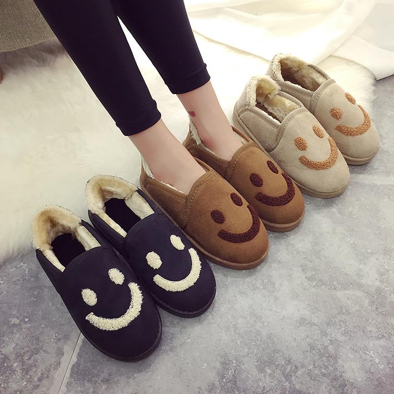 秋冬新款韓版麵包鞋女平底加厚女鞋保暖防滑雪地靴韓國微笑鞋室內鞋可愛造型毛毛