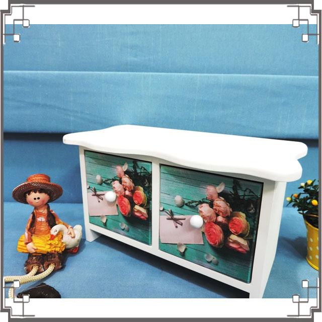 ↙8折↘ 洗白浪型二抽櫃《2W6》粉嫩玫瑰桌上型二抽櫃 收納櫃 飾品珠寶盒 居家布置◤彩虹森林◥