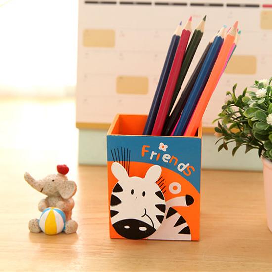 ♚MY COLOR♚卡通動物木質收納盒 筆筒 文具 畫具 學生 兒童 桌面 辦公室 留言 便籤 夾【L176】