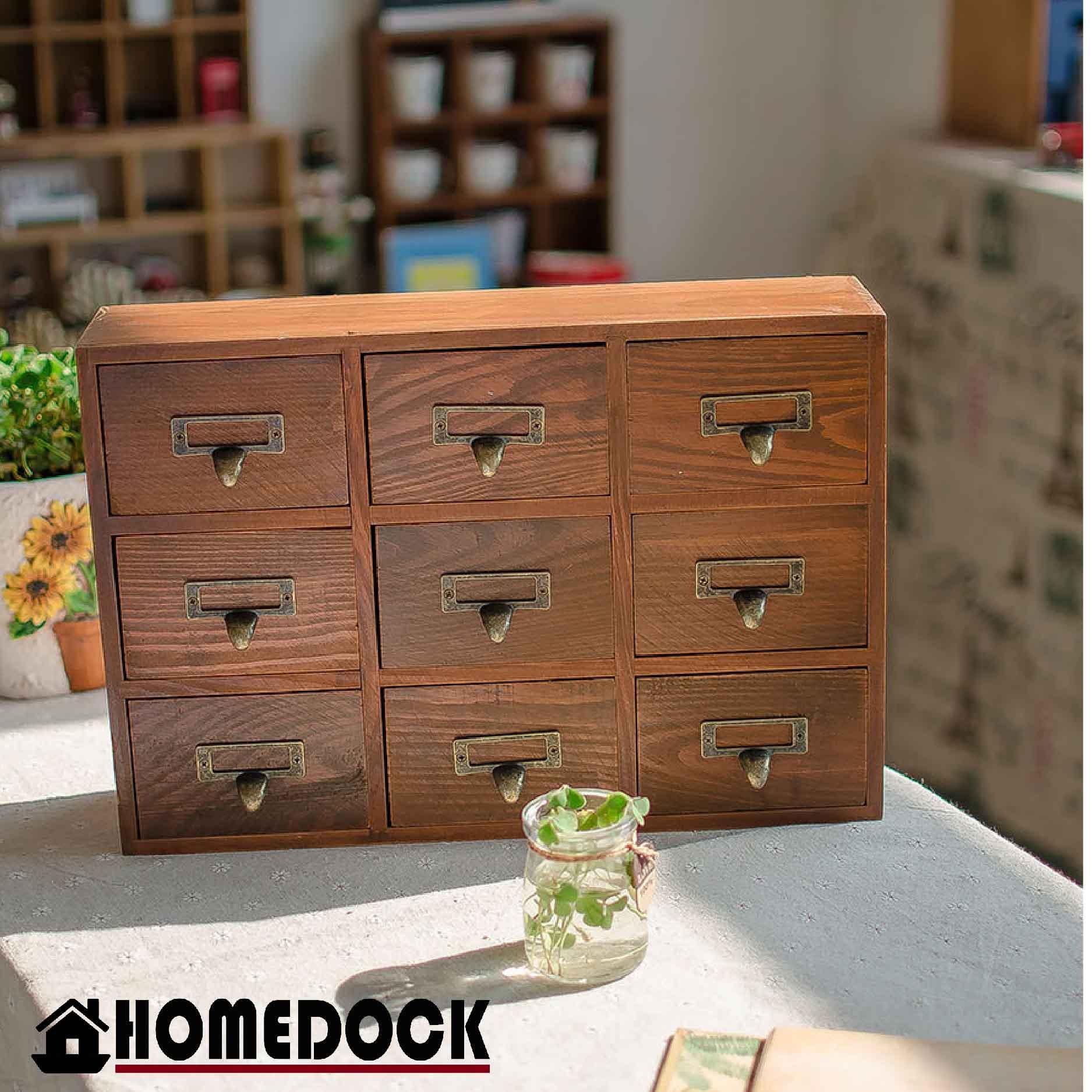 HOMEDOCK-原木質感9格抽屜收納櫃 三層/九格/木櫃/置物櫃/原木製/層格櫃/抽屜/Zakka/木盒