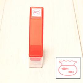「Kodomo小孩牌」手帳小印章 - 164金魚魚缸(紅)