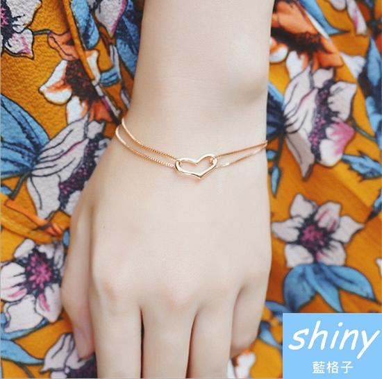 【DJJ4417】shiny藍格子-愛心形手鍊女雙層皮手鍊