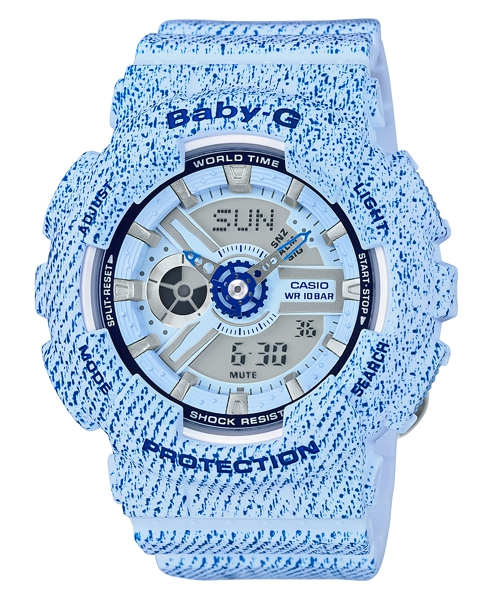 CASIO BABY-G BA-110DC-2A3牛仔丹寧雙顯流行腕錶/43.4mm