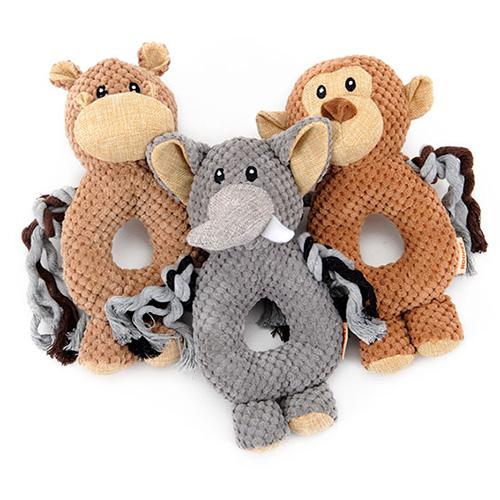 【小樂寵】動物甜甜圈玉米絨咬繩玩具