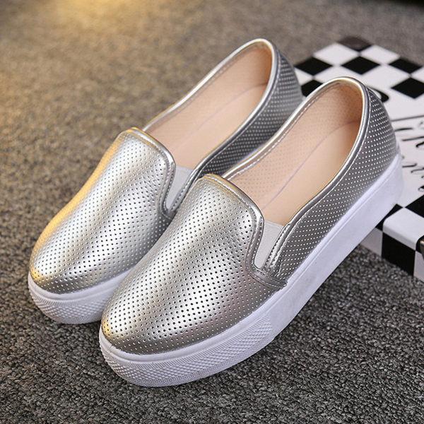 懶人樂福鞋厚底鏤空洞洞軟皮銀色-JC Collection