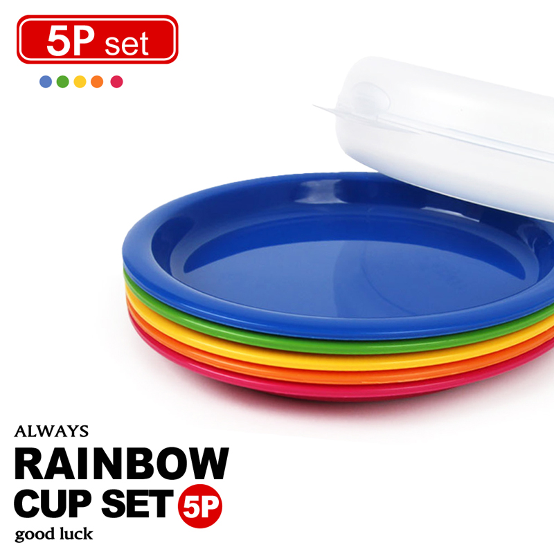【樂扣樂扣】P&Q彩虹疊疊樂餐盤5件組