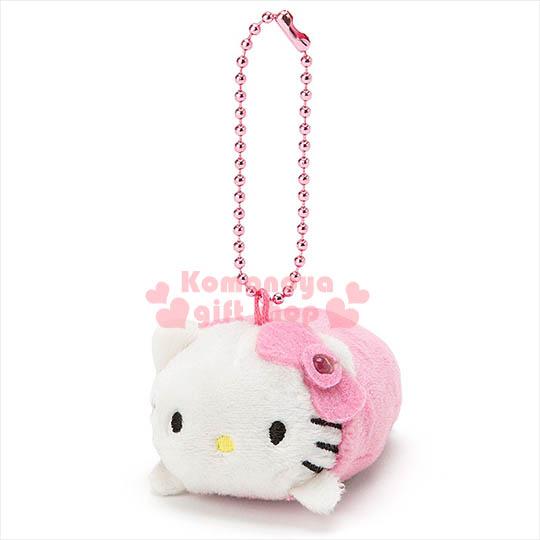 〔小禮堂〕Hello Kitty 造型有聲娃娃吊飾《粉.趴姿.附珠鍊》會發亮