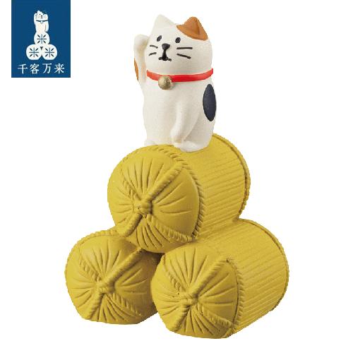 Decole 日本開運小物 / 擺飾道具 / 小玩偶 / 公仔 -  Concombre 米袋上的三毛貓 / 好運大豐收 ( ZCB-26363 ) 喵星人