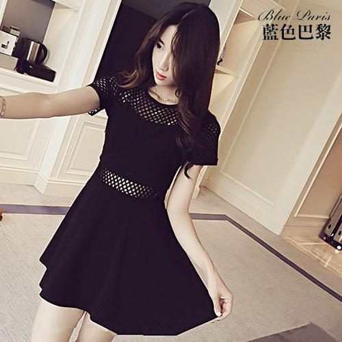 短袖洋裝 - 韓版純色拼接透視網格連身裙【27109】藍色巴黎《黑 / 白》☞ 現貨商品