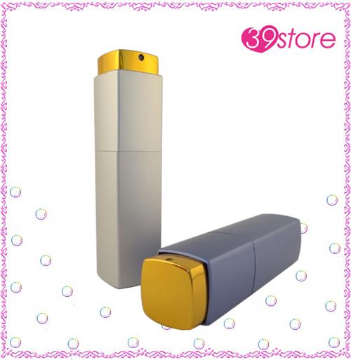 [ 39store ] 10ml 旋轉式口紅造型電化鋁香水分裝瓶 玻璃內瓶 可重複填充 方形