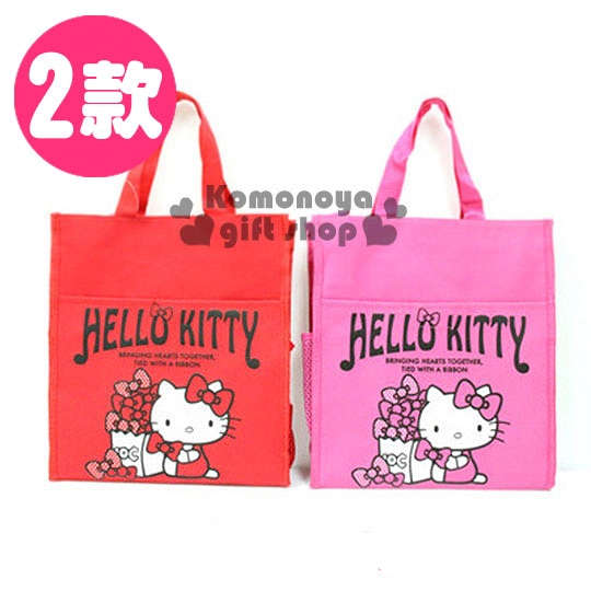 〔小禮堂〕Hello Kitty 兩用帆布手提袋《兩款選一.直式.坐姿.LOGO.蝴蝶結堆疊》附斜背袋