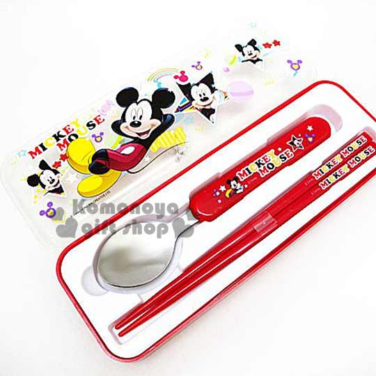 〔小禮堂〕迪士尼 米奇 盒裝餐具組《紅.糖果.彩虹.星星》匙筷2件式組合