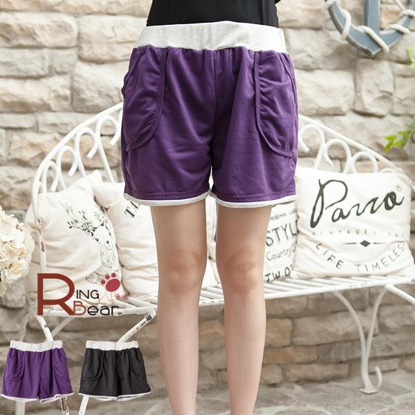 短褲--巧妙設計鬆緊褲頭配色羅紋立體口袋設計短褲(黑.紫M-2L)-R141眼圈熊中大尺碼