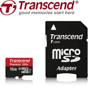 創見 Transcend MicroSDHC 16GB UHS-I Class10 45MB/s 300X記憶卡( 附轉卡) ! [天天3C]