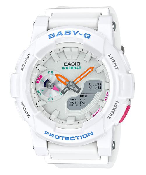 CASIO BABY-G BGA-185-7A衝浪滑板雙顯流行腕錶/白44mm