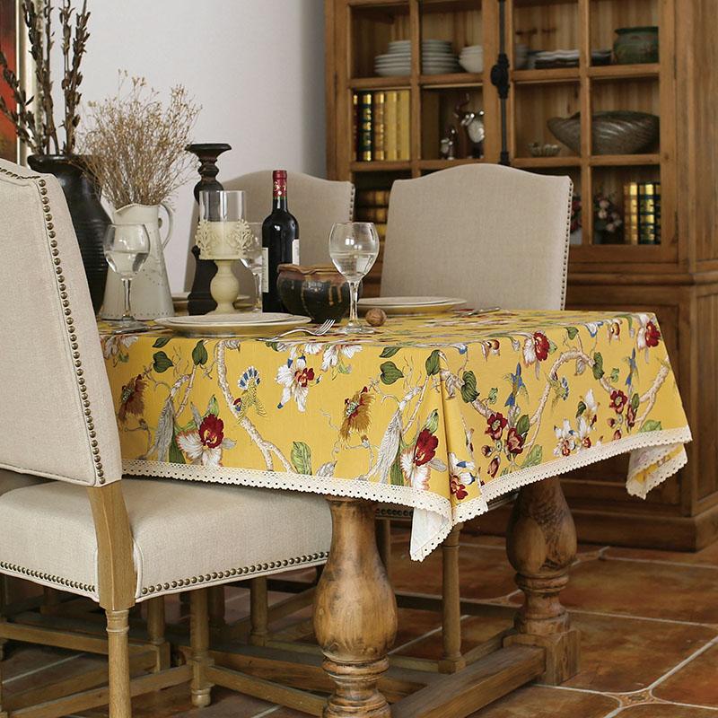 居家鄉村風 田園印花竹節棉布藝桌布 餐桌布-黃色/單售