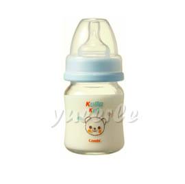 【悅兒樂婦幼用品舘】Combi 康貝 Kuma Kun 寬口耐熱玻璃哺乳瓶120ml (藍) ~新品上市~