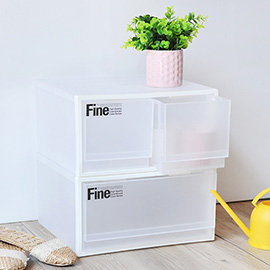 【nicegoods】 透白單層抽屜整理箱 2入(單抽+雙抽)(收納櫃 抽屜櫃 衣櫃 塑膠 整理箱)