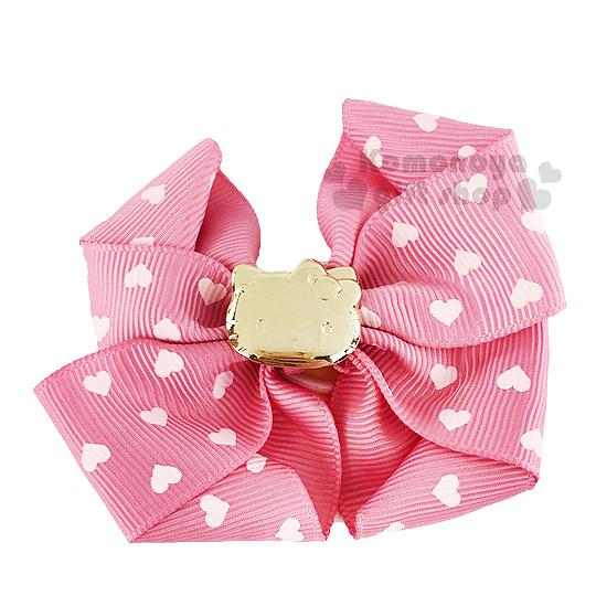 〔小禮堂〕Hello Kitty  緞帶彈力髮束《粉.金大臉.愛心.蝴蝶結》髮圈