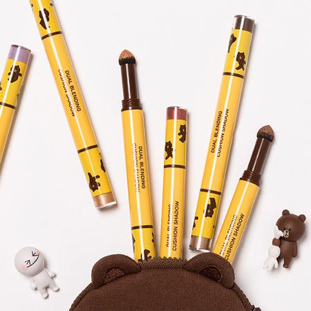 韓國 MISSHA X LINE 聯名款 熊大雙頭雙色暈染珠光眼影筆 1g*2 雙頭眼影氣墊棒【N201522】