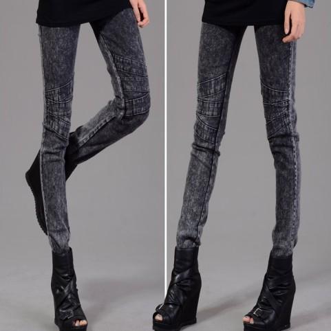 牛仔褲【心齋橋】新款韓版鬆緊腰帶雪花牛仔褲米型圖案/顯瘦緊身牛仔褲