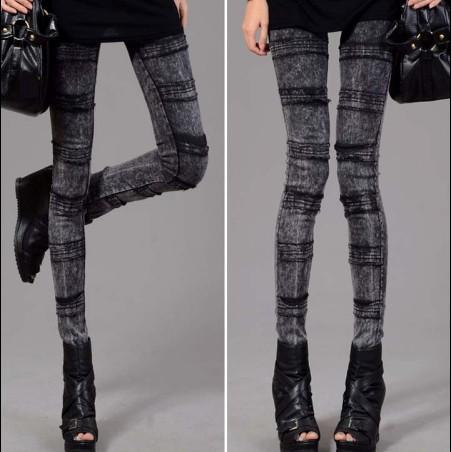 牛仔褲【心齋橋】新款韓版鬆緊腰帶雪花牛仔褲橫條款式/顯瘦緊身牛仔褲