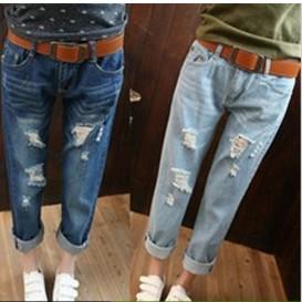 牛仔褲【心齋橋】韓版新款寬鬆顯瘦哈倫垮褲破洞牛仔褲七分褲