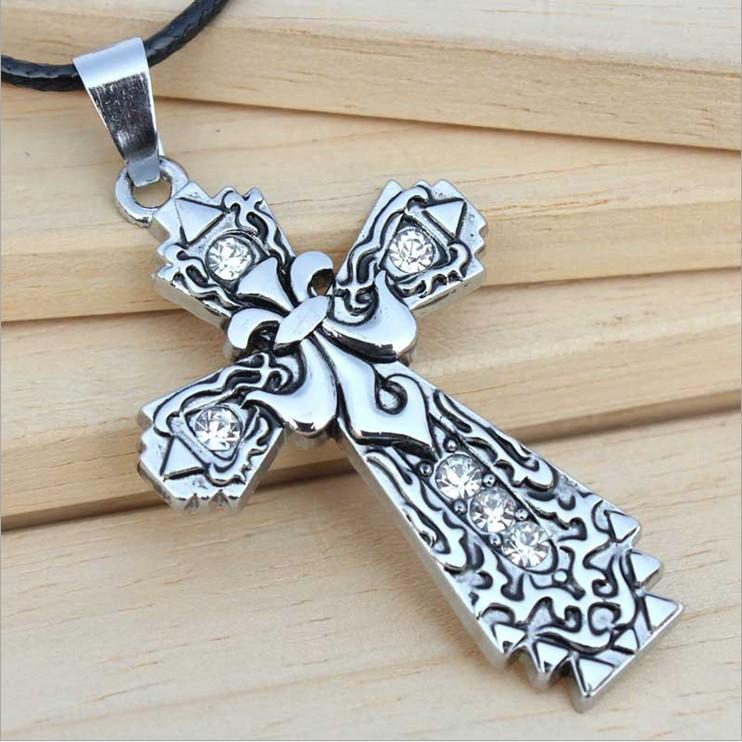 項鍊【心齋橋】韓版新款鑲鑽雕花鈦剛十字架毛衣鏈項鍊