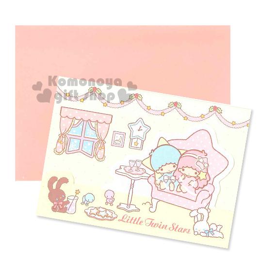 〔小禮堂〕雙子星 造型三折聖誕卡片《S.黃.坐沙發.窗戶.兔子.點點》附信封