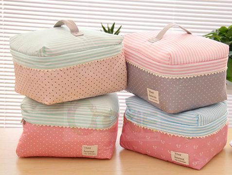 韓國大容量可愛化妝包 滌綸布加厚加棉手提包收納包化妝袋洗漱包【庫奇小舖】